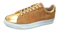 Cork Ladies' sneaker with gold PU detailing. Vegan AF and Hot to Trot! - ECO-ISTS