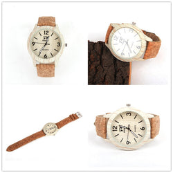 Gorgeous Ladies Watch, wood casing in white, natural color cork strap - ECO-ISTS
