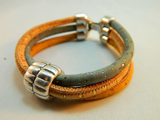 Cork Bracelet with 3 strands and alloy Bead, the new leather - ECO-ISTS