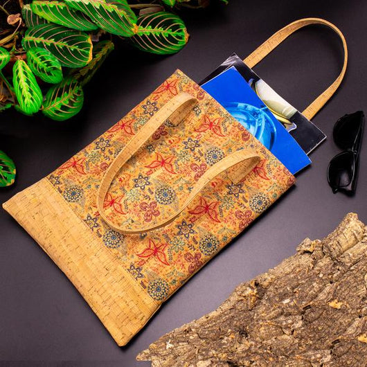 Hippy Tote Bag from Portuguese cork, butterflies and flowers - ECO-ISTS