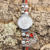 Brown and red string cork handmade ladies' watch with bright red diamond pendant - ECO-ISTS