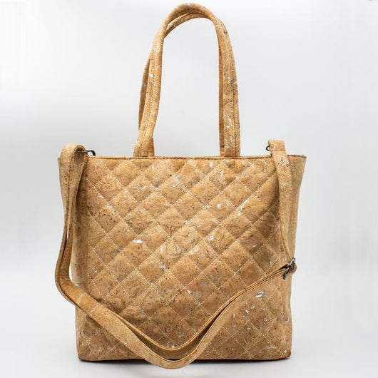 Vegan quilted cork tote bag with silver detailes - ECO-ISTS