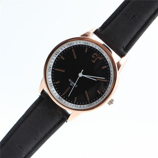 Cork watch with metal casing and black wrist band - ECO-ISTS