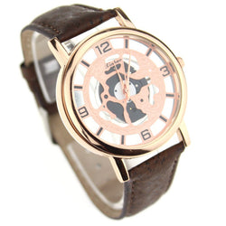 Transparent and Golden Women's Watch with Brown cork wristband