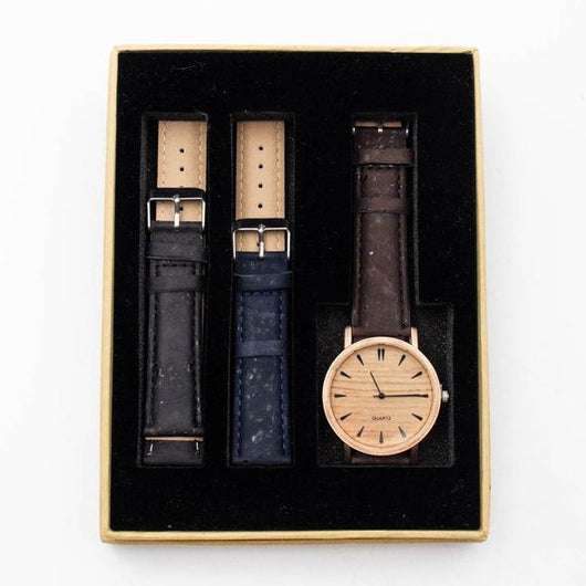 Cork watch for men with brown/black/blue strap in gift box - ECO-ISTS