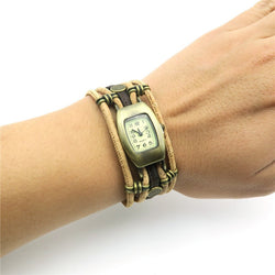 Ladies' Vintage Style Stainless Steel Watch with Natural Beige Cork Band