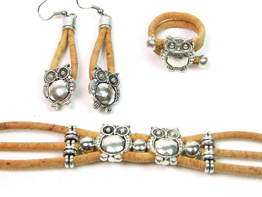 Cork Jewellery Set with Bracelet, Ring and Earrings. Full of Owls! - ECO-ISTS