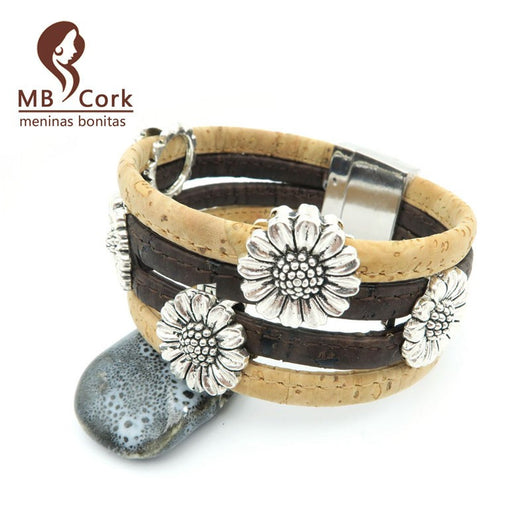 Sunflower Bracelet Handmade with Cork Strands, Vegan and Very Chic - ECO-ISTS