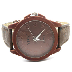 Unisex Casual Stainless Steel Watch with Dark  Cork Band and Case