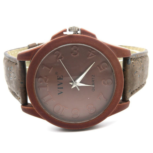 Unisex Casual Stainless Steel Watch with Dark  Cork Band and Case - ECO-ISTS