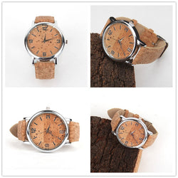 Cork watch with metal coloured casing, natural cork face and cork strap