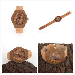 Gorgeous Ladies Wristwatch with Brown Wooden Casing Cork Band and Face - ECO-ISTS