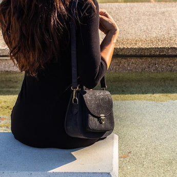 Black Cork Cross body bag, casual chic vegan leather bag - ECO-ISTS