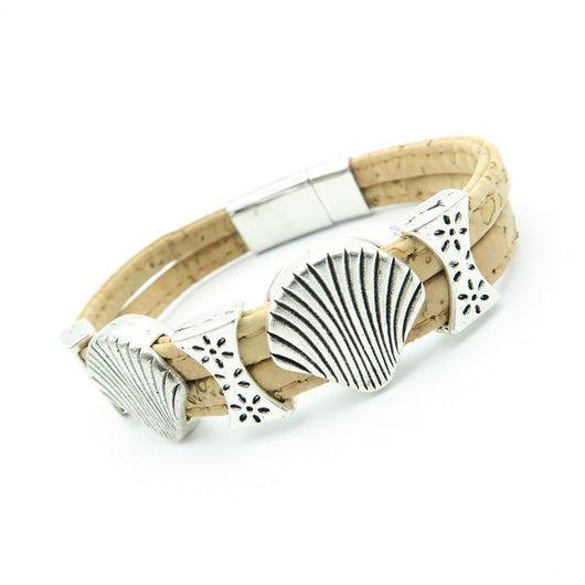 Shell Bracelet with 2 strands of Cork; Vegan Fashion! - ECO-ISTS