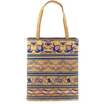 Cute cork bag with royal blue accents. Vegan and Sustainable. - ECO-ISTS