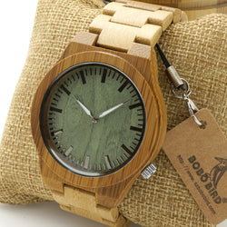 Men's Bamboo Wood Wristwatch with Analog display, Wooden strap. Comes in Gift Box