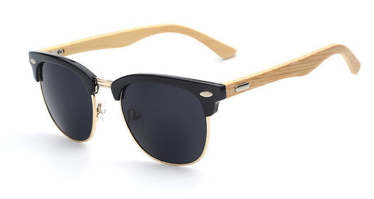 Half Metal Bamboo Sunglasses for Men and Women with UV400 protection and mirrored glass - ECO-ISTS