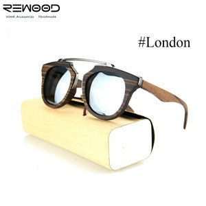 Rewood Wooden Frame Sunglasses for Ladies, UV 400 Polarised Lens - ECO-ISTS