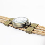 Ladies' Watch with natural colored cork wrist strap and brass accents - Handmade in Portugal. - ECO-ISTS