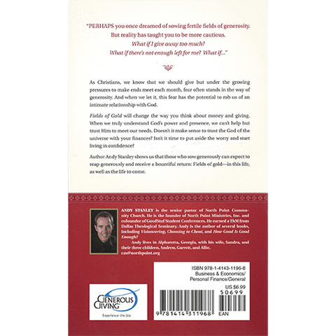 Fields of Gold Paperback Book Back Cover by Andy Stanley