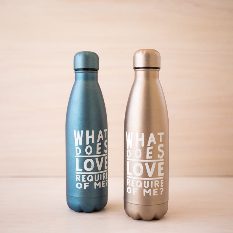 What Does Love Require of Me Blue Stainless Steel Water Bottle
