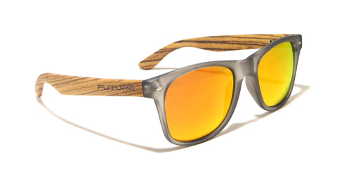 Zebra Wood / Frosted Black & Polarized Fire - Future-Wear - Carbon Sunglasses