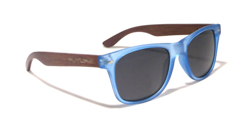 Ebony Wood / Frosted Blue & Polarized Midnight Black