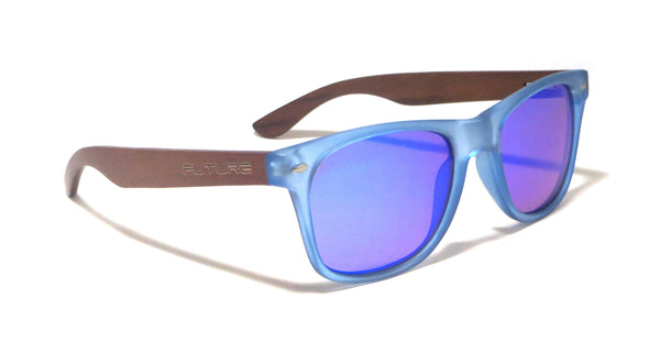 Ebony Wood / Frosted Blue & Polarized Cobalt Blue - Future-Wear - Carbon Sunglasses