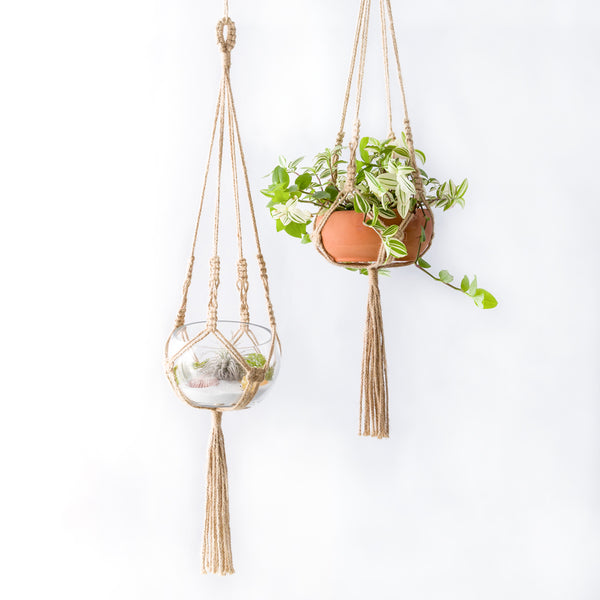 2Pcs Hanging Macrame Plant Hanger Mini Planter Basket Holder for Small Plants Succulent Cactus Flower Pot, Jute, 30 Inch(75cm)
