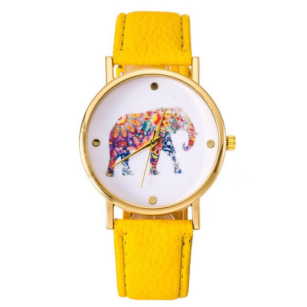 NEW Fashion Hippie Elephant watch Woman Golden Women wristwatch Vintage PU leather casual dress Geneva Style Drop shipping