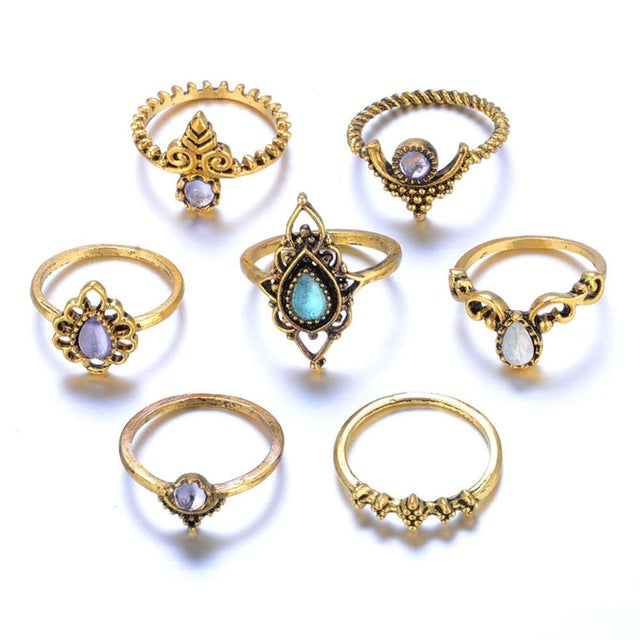 7Pcs/set Bohemian Beach Natural Stone Ring Set Ethnic Antique Silver Midi Finger Boho Rings Set Charm Anelli For Women #244495