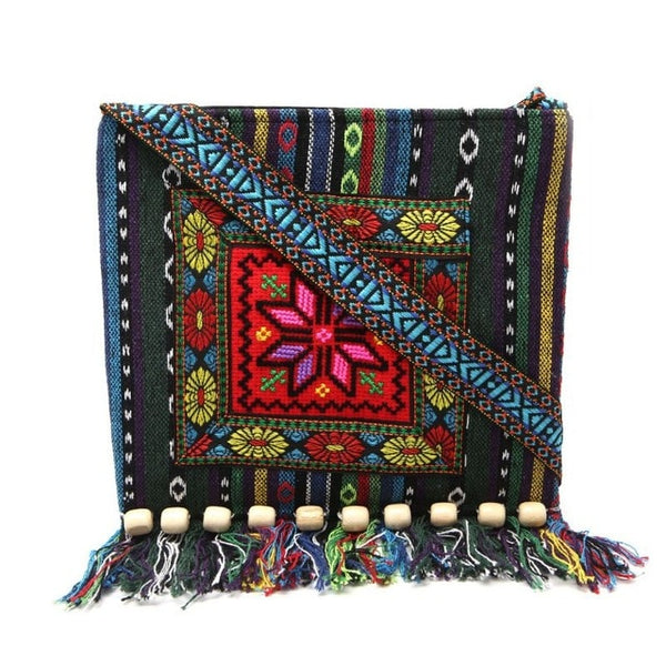 Unique Vintage Ethnic Shoulder Bag Embroidery Boho Hippie Tassel Tote Messenger