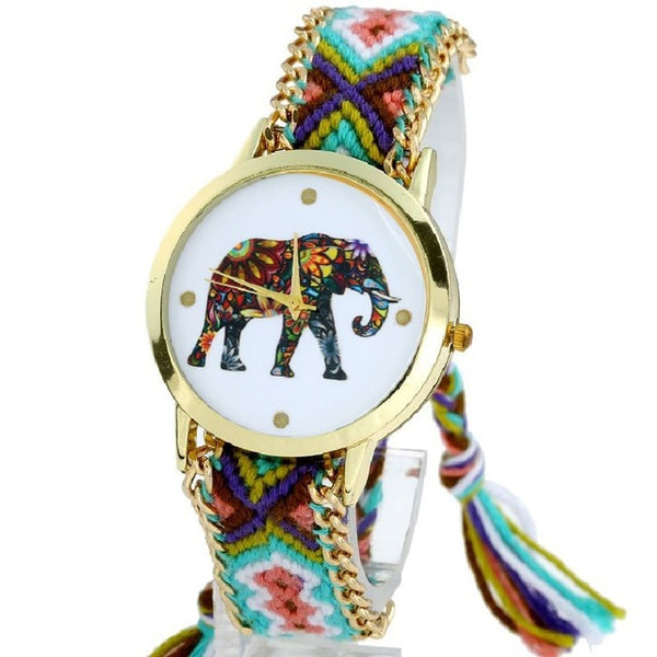 Gnova Platinum Indian Elephant Lace Watch Women Golden Chain Dress Woman Ethnic Wristwatch Hippie Fabric Fashion Student School