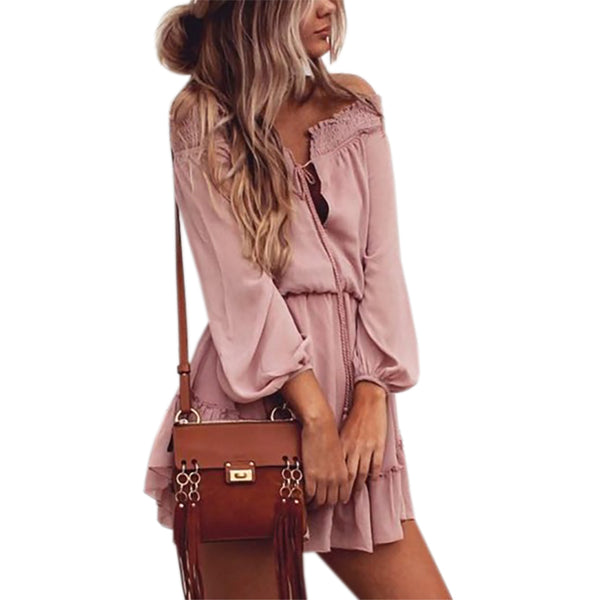 Boho Chiffon Dresses Slash Neck Beach Summer Beach Mini Dress Lantern Long Sleeve Ruffle Women Sexy Party Vintage Dress GV687