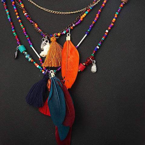 Festival Feather Necklace - The Moonlight Society