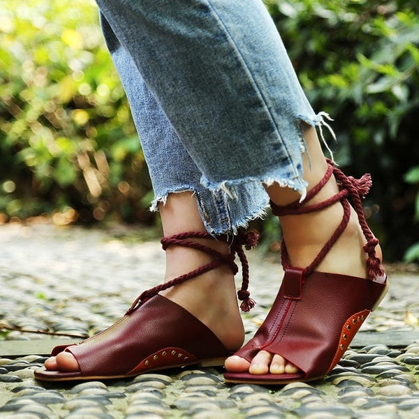 Flats shoes leather gladiator zapatos mujer summer sandals women ankle strap  femme sandale 2018 slippers beach flip flops