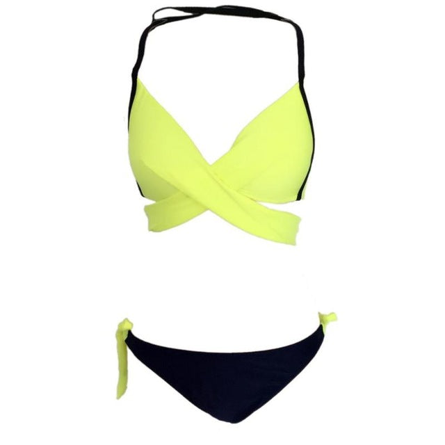 2018 Summer women bikini set sexy Split two pieces halter padded split swimsuit female Push Up Low Waist Swimwear Bathing Suit