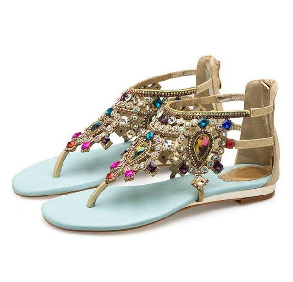 Carpaton Rome Style Flat Sandal for Woman Summer Sexy Crystal Embellished flip-flops Colorful rhinestones gladiator sandal