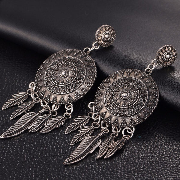 Feather Dangle Earrings - The Moonlight Society