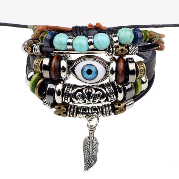 New Punk Vintage Rope Handmade Bead Owl Leather Bracelets Women Eye Bangle Female Rock Homme Men dropshipping Adjustable Jewelry