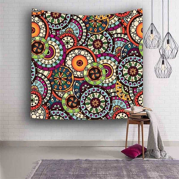 Home Furnishing Indian hippie Bohemian Psychedelic Peacock Mandala Wall hanging Floral Gold Bedding Tapestry Rectangle