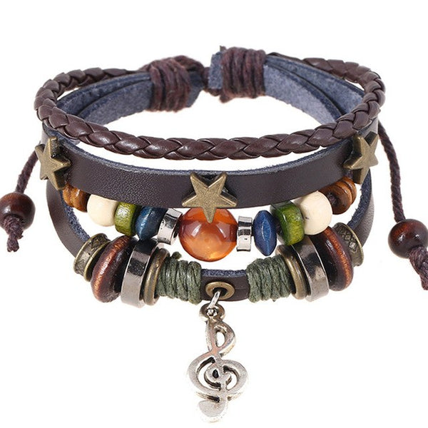 Handmade Boho Gypsy Hippie Design Brown Leather Star G Clef Note Metal Charms Wood Button Beads Wrap Unisex Adjustable Bracelet