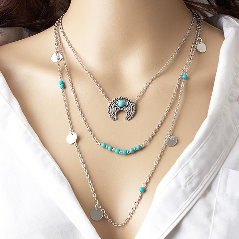 Retro Necklace Silver Hippie Bohemian Ethnic Necklace Fashion Jewelry