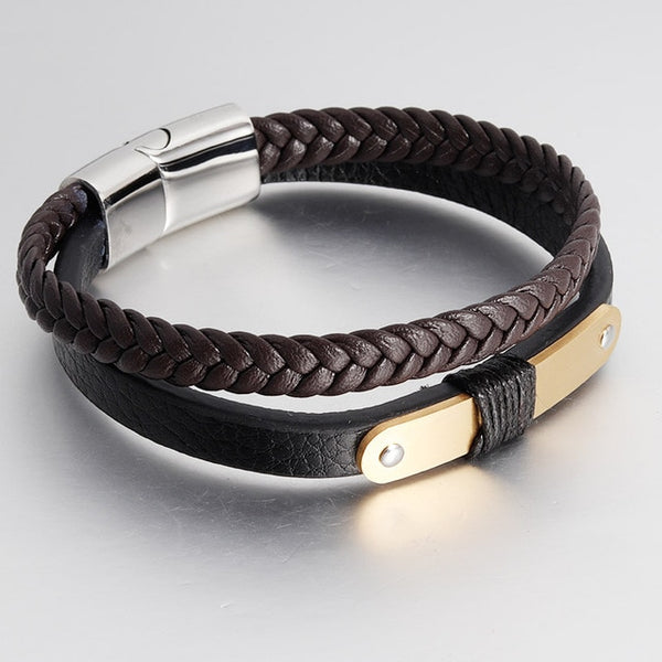 Vintage Men Jewelry Braid Genuine Leather Bracelet Stainless Steel Buckle Bangle Double Layer Black Rope Chain Trendy
