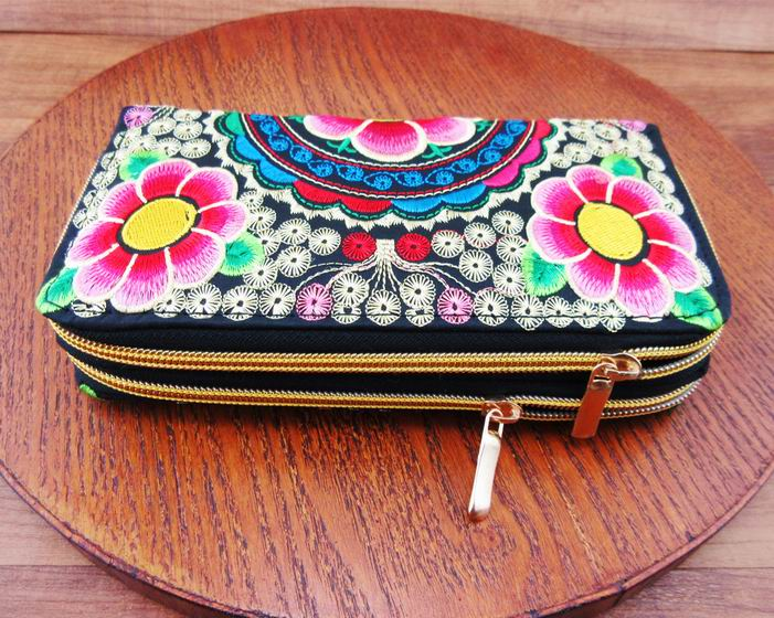 2-Layer Vintage Hmong Thai Ethnic Wallet purse, Card Holder Bag, Hobo Hippie Ethnic handbag with embroidery, SYS-498R