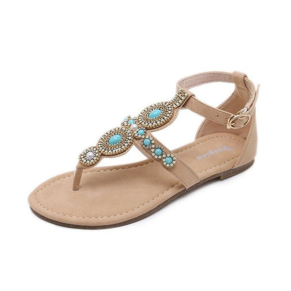Woman Sandals Women summer Shoes Rhinestones buckle Thong bead Gladiator Flat Sandals Crystal Chaussure slides female