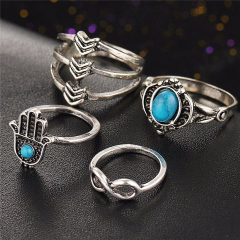 Hamsa Turquoise Ring Set - The Moonlight Society