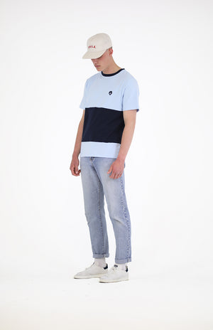 Panelled T Short Sleeve - Blue