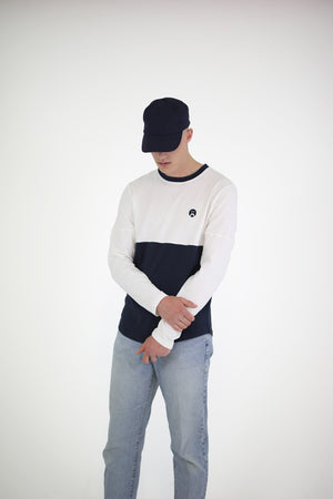 Panelled T Long Sleeve - Navy