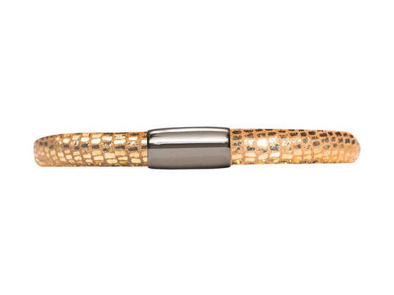 Endless Jennifer Lopez Golden Reptile, 18cm/7.0inch Single Leather Bracelet Steel Finish